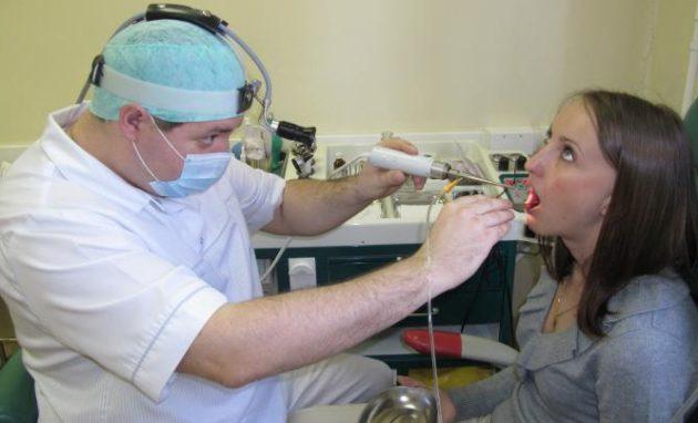 Лечение горла лазером